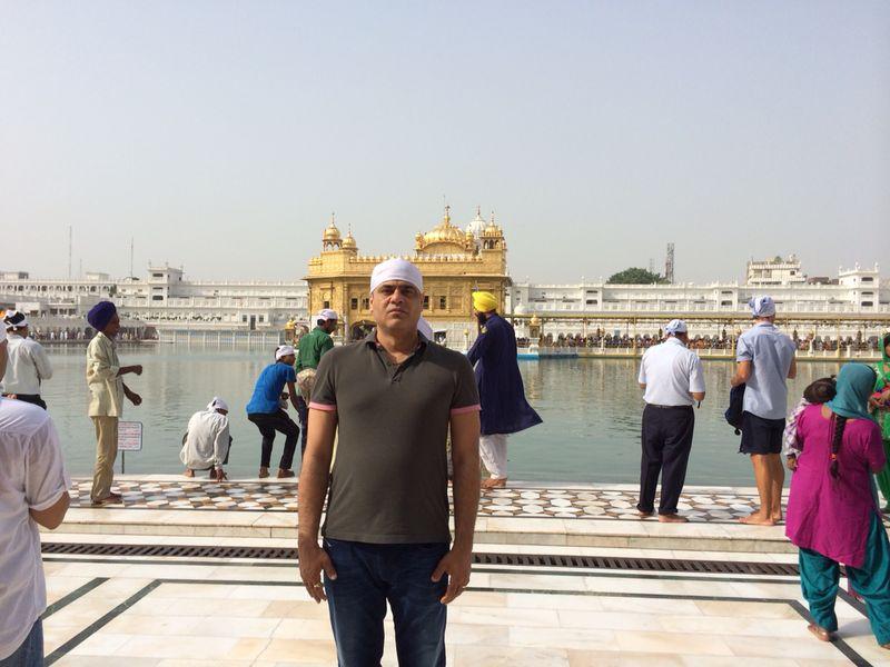 Manish Tiwari outside the Golden Temple