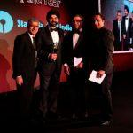 L-R: Mayor of London Sadiq Khan, winner of Business Leader of the Year Ajay Banga, CEO of State Bank of India Sanjeev Chadha and Sanjeev Bhaskar