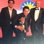 L-R: Founder of The Asian Awards Paul Sagoo, Tony Litt of Sunrise Radio, Sachin Tendulkar, Sunny Pawar, Gurdev Jassi and Sanjeev Bhaskar