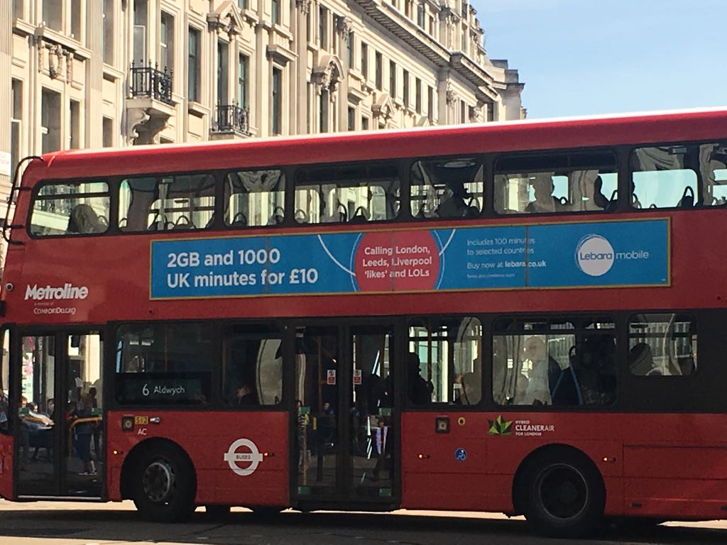 Lebara paints city centres across the UK blue with their bus campaign