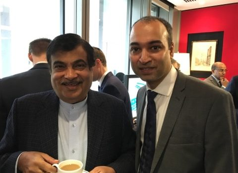 Union Road Transport Minister of India Nitin Gadkari opens trading at the London Stock Exchange