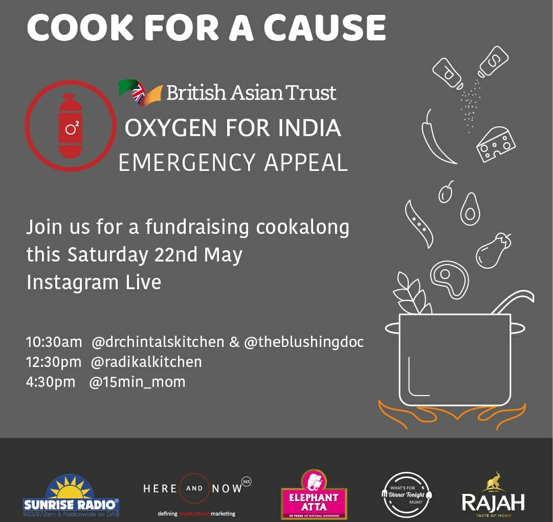 """Join in and """"Cook For A Cause"""" this Saturday to raise funds for the Oxygen for India Emergency Appeal"""